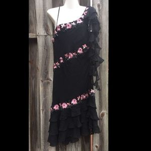 NWT SUE WONG 12 SILK Dress One Shoulder Sequin